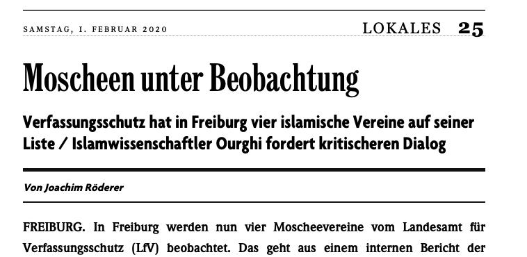 Interfraktionelles Schreiben zu islamistischen Bestrebungen in Freiburg